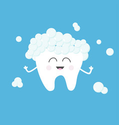 Tooth health with toothpaste bubbles foam cute vector
