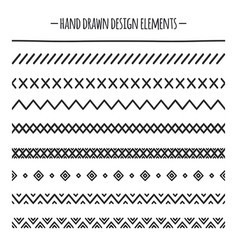 tribal brushes border ethnic hand drawn vector image
