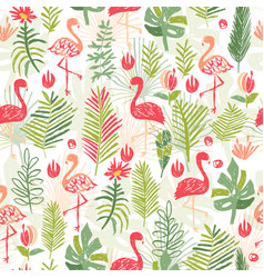 tropical flower and flamingo seamless pattern vector image