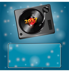Twenty seventeen record deck and vinyl copy space vector image