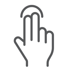 two finger tap line icon gesture and hand touch vector image