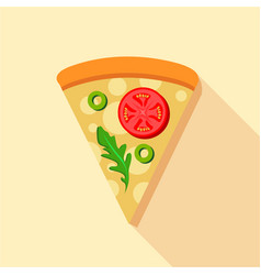 Vegetarian pizza tomatoes and basil icon vector