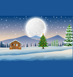 View of wooden houses and christmas trees in winte vector