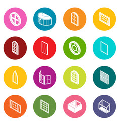Window forms icons set colorful circles vector