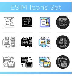Work monitoring tools icons set vector