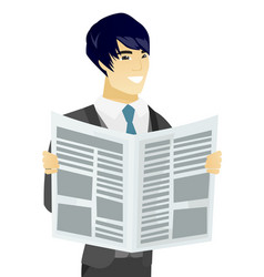 Young asian groom reading newspaper vector