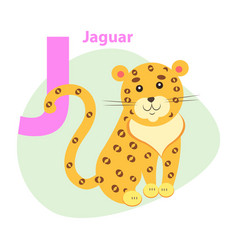 Zoo abc letter with cute jaguar cartoon vector