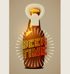 beer time typographic retro beer poster eps10 vector image