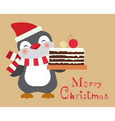 christmas penguin with cake card vector image