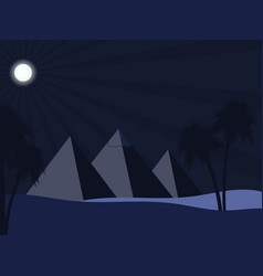 egyptian pyramids in the desert full moon over vector image vector image
