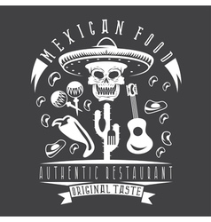 Emblem of restaurant with skull in mexican vector