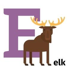 English animals zoo alphabet letter E vector image