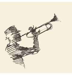 Jazz poster Man playing trumpet drawn sketch vector image vector image