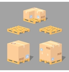 Low poly cardboard boxes on the pallets vector image