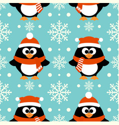 new year seamless background with funny penguin vector image vector image