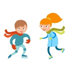 Pretty cheerful little girl and boy thermal suits vector