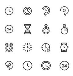 set of utline icons indicating the time vector image vector image