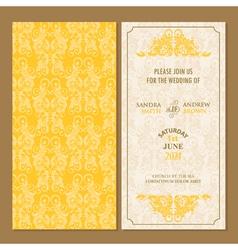 Wedding invitation yellow set vector image