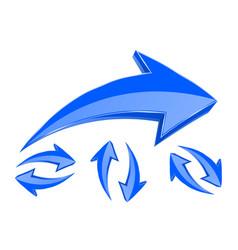 arrows set of 3d blue arrows in circular motion vector image vector image