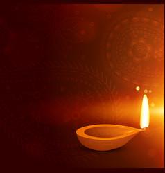 beautiful diwali background with diya diwali vector image vector image