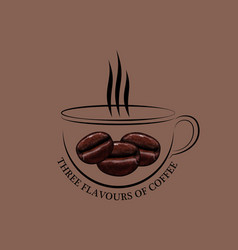 cup of coffee with ferry and grains vector image