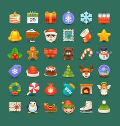Cute christmas icons vector