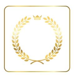 Gold laurel wreath crown vector image