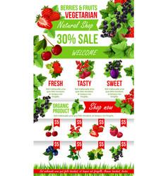poster of fresh garden berries market sale vector image vector image