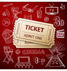 two tickets and hand draw cinema icon vector image