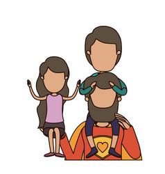 Colorful caricature faceless half body super dad vector