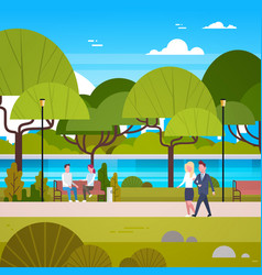 couple of business people walking in beautiful vector image
