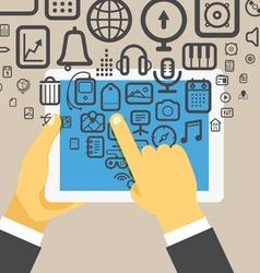 The businessman holding modern digital tablet vector image