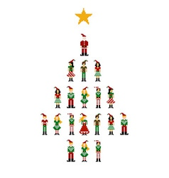 Xmas pixel characters series vector image