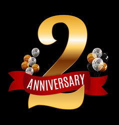 golden 2 years anniversary template with red vector image vector image