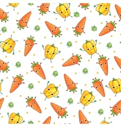 seamless pattern with cute vegeables vector image vector image