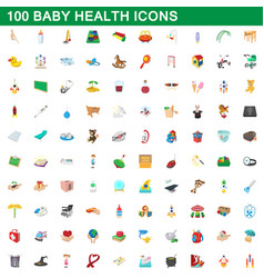 100 bahealth icons set cartoon style vector image