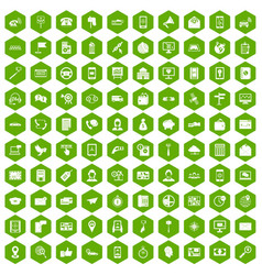 100 smartphone icons hexagon green vector