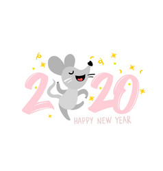2020 happy new year label design vector image