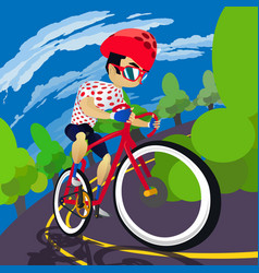 3d and flat design style leader cyclist climbing vector image