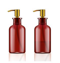 3d luxury amber glass soap dispenser bottle vector