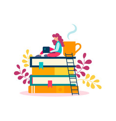 a stack of books and a student girl with a laptop vector image