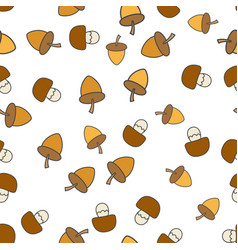 acorns and mushrooms seamless pattern vector image