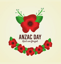 Anzac day lest we forget card floral ornament vector