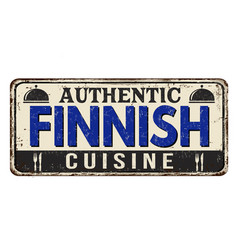 authentic finnish cuisine vintage rusty metal sign vector image