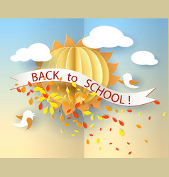 back to school card with birds leaves and sun vector image