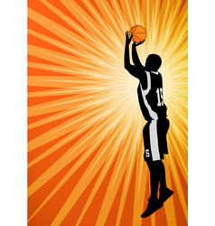 Basketball player on the abstract orange vector