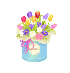 Bouquet and box with flowers vector