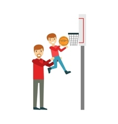 Boy And Father Playing Basketball Happy Family vector image