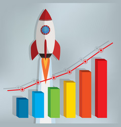 Business chart with a rocket going up vector
