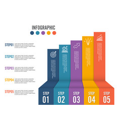 Business growth 5 step infographics option vector